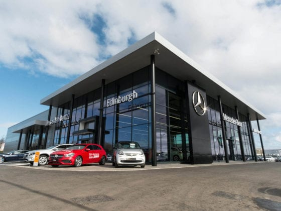 JAD Joinery commercial fit out of the Mercedes Garage in Edinburgh