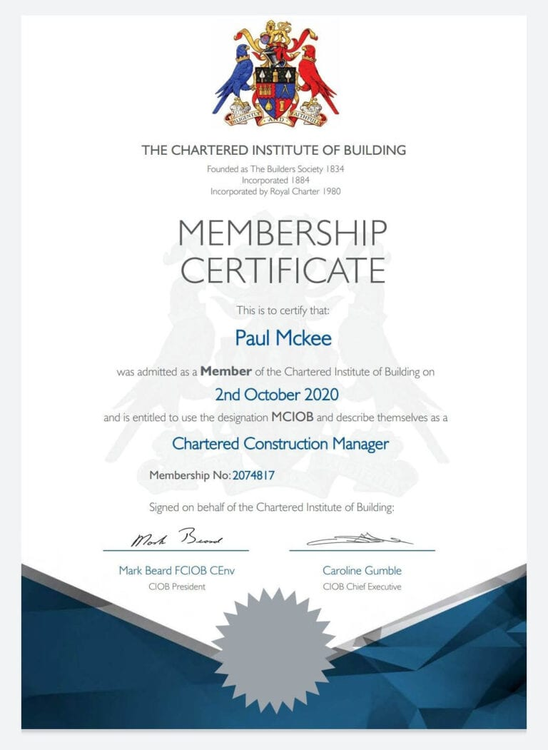 Very well done to JAD Joinery Ltd Contracts Manager Paul Mckee MCIOB for achieving Chartered Construction Management status. This will stand both Paul and the business in good stead in the future. the chartered institute of building